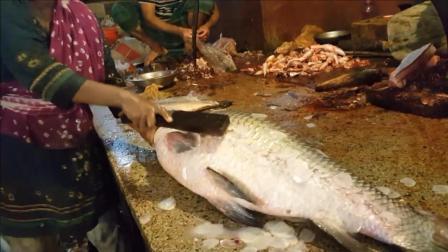 这估计是鲤鱼界的爷爷辈了, 五十多斤重, 鱼鳞比脉动瓶盖还要大