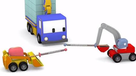 儿童玩具车迷你建筑队: 起重机查理、推土机比利、挖掘机埃德加建造骑士城堡玩射击比赛