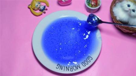 用洗衣液自制奇葩蓝莓果酱水晶泥, 安全无毒不粘手