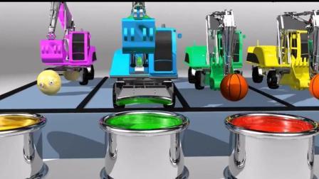 丰富儿童思维和想象力, 挖土机把篮球推进颜料桶染色学习英文颜色