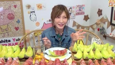 日本美女大胃王木下, 一口气吃掉惊人的15斤甜到心网纹瓜, 恐怖的胃啊, 太厉害了吧!