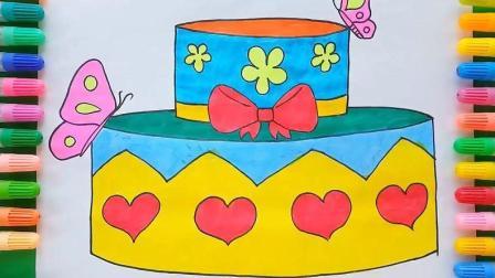 在双层蛋糕上画出蝴蝶结
