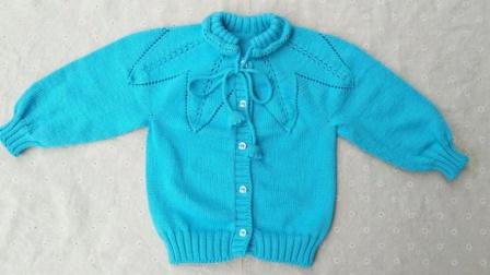 珍珍编织 花边叶子开衫挑门襟视频儿童宝宝毛衣视频