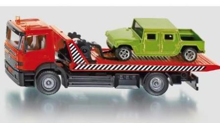 3D大卡车运输小汽车 赛车总动员 挖掘机 推土机 吊车 大卡车 汽车总动员动画片国语版