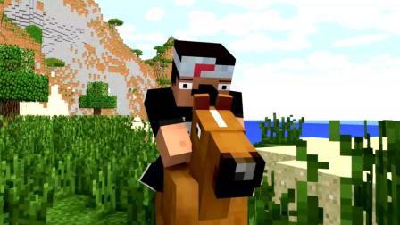 我的世界动画: 看看菜鸟是如何驯服一匹马的? 原谅我笑出了猪声