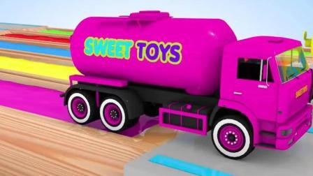 开发幼儿思维和想象力, 油罐车给水池注满颜料水后给小汽车染色!