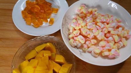 QQ糖棉花糖和芒果这样做, 比买的果冻雪糕好吃百倍