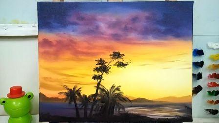《夕阳下的景色》基础油画教程示范,疯油画TV系列23