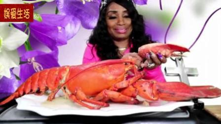 欧美吃播: 吃蟹阿姨吃大龙虾, 大口大口的吃, 吃的好过瘾