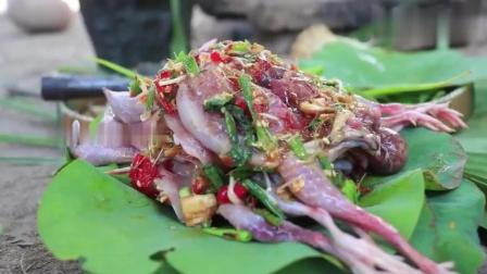 野外求生, 农村小哥在野外烤鸽子, 原始原味儿的肉太美味了