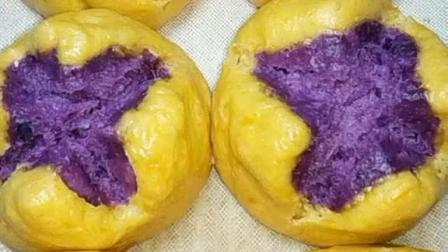 南瓜紫薯开花馒头, 松软香甜, 营养又好吃