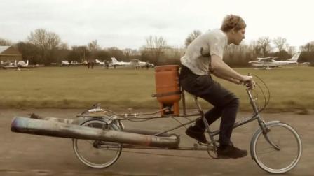 """民间小伙发明""""煤气罐""""自行车, 时速高达72千米, 200块钱造一辆"""
