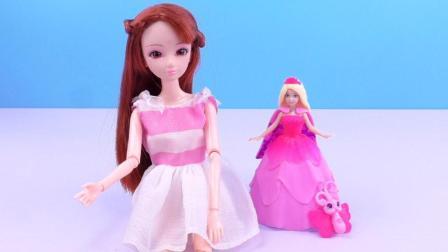 洋娃娃换装粉红色的蛋糕裙, 美极了