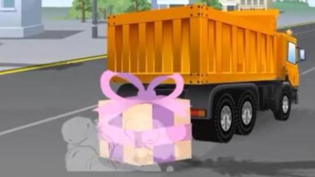 儿童玩具车动漫卡通: 大卡车滚到障碍物摔车把蓝色小车的生日蛋糕掉在马路中央