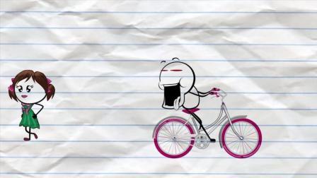 爆笑逗趣铅笔动画 铅人骑车路遇美女 看得入神撞到石头上了