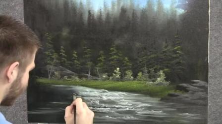 风景油画教程: 胡子哥画树林草地小溪一幅漂亮的画面就是这样而来