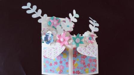 母亲节创意立体花朵贺卡, 打开弹出漂亮的花朵, 手工折纸视频教程
