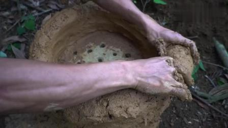 野外求生, 生存小哥做泥巴火炉, 叫花鸡这样做才是最好吃的