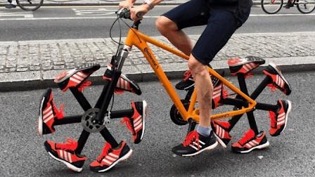 老外改装自行车, 前后轮穿上鞋, 这跑起来不得上天?