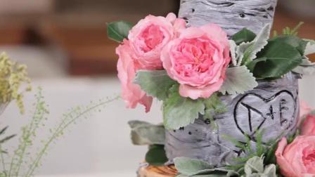 鲜花和蛋糕的搭配让美食变成了艺术品