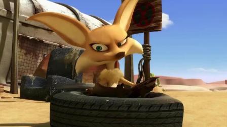 小狐狸为了不让小蜥蜴拿到饮料喝, 把篮筐用气球吊飞起来