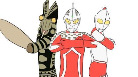 巴尔坦星人 赛文奥特曼 杰克奥特曼 三人组合儿童卡通简笔画