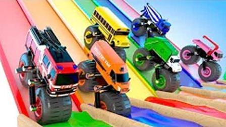 巨型滚轮车越野竞速染色游戏 挖掘机 推土机 吊车 大卡车 汽车总动员动画片中文版
