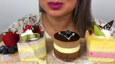 泰国吃播 N、E吃巧克力 草莓慕斯蛋糕, 咀嚼音!