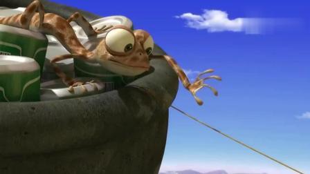 小蜥蜴的空中战争, 大公鸡为了食物上了热气球, 被野猪丢给了鳄鱼