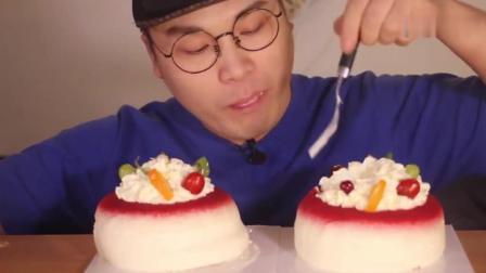 韩国大胃王donkey弟弟吃生日蛋糕, 吃得美滋滋的!