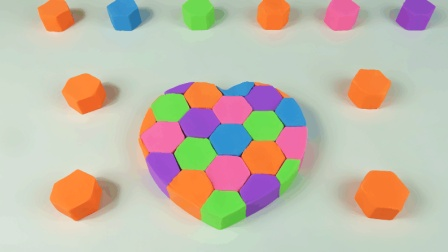 手工diy制作几何心形彩虹蛋糕, 趣味体验玩太空沙的乐趣