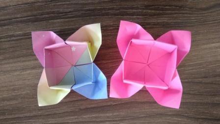 漂亮的折纸花朵收纳盒, 简单几步就做好, 手工折纸大全视频教程