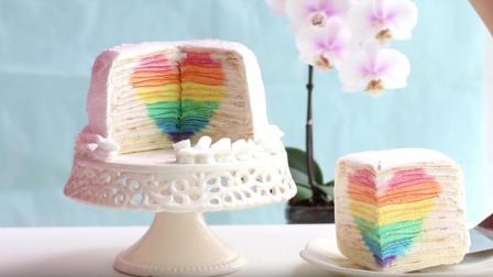 烘焙达人制作彩虹千层蛋糕, 颜值超高, 切个蛋糕都是爱你的形状