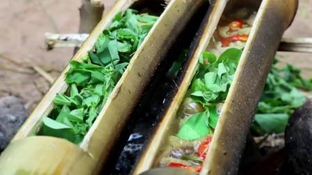 在野外用竹子当作餐具, 做出了最具特色的美食!