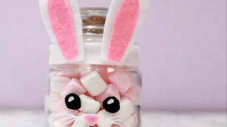 超可爱的兔子糖果罐, 做法非常简单, 太有创意了!
