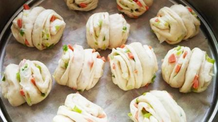 一支筷子做出漂亮花卷就这么简单! 一压一捏就完成! 火腿葱香花卷做法