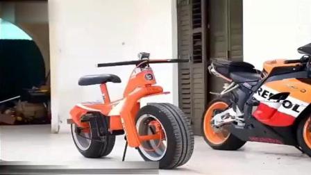 单车加装摩托车轮胎 风一般的行驶在路上!