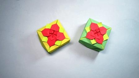 手工折纸花朵盒子, 几个步骤就能折出简单又漂亮的带花朵的收纳盒