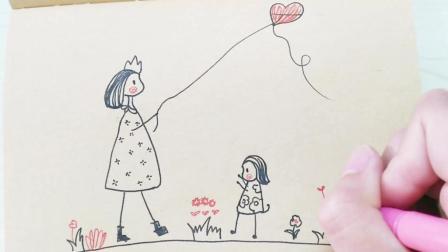 又到了放风筝的季节了, 放风筝简笔画教程!