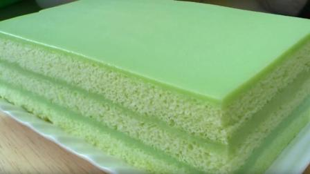 班兰咖吔夹心蛋糕制作, 颜色很清新, 一种亲近大自然的味道