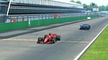 法拉利F1赛车对决兰博基尼Centenario, 兰博先跑400米, 猜猜谁赢了?