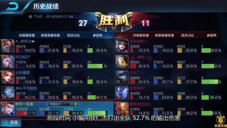 王者荣耀: 一玩家用bug般组合打出52%输出 远超KPL职业选手