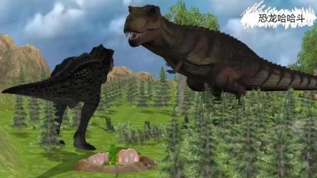 猩猩暴力捶翻霸王龙 恐龙动漫