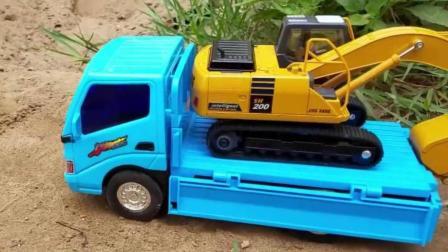 玩具挖掘机 工程车 翻斗车户外模拟挖土表演