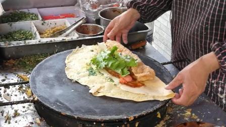 一分钟一个的山东杂粮煎饼, 做法简单, 量很大, 早餐吃一个很撑