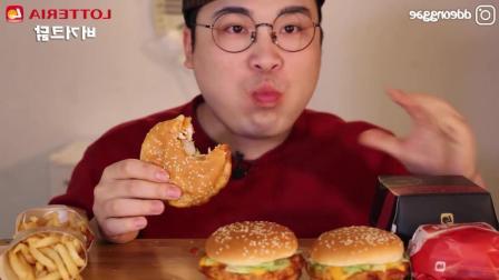 韩国胖哥吃6个炸鸡汉堡, 三口就吃完了一个