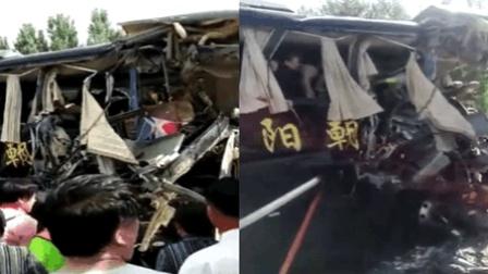辽宁大巴与翻斗车撞驾驶室被撕裂