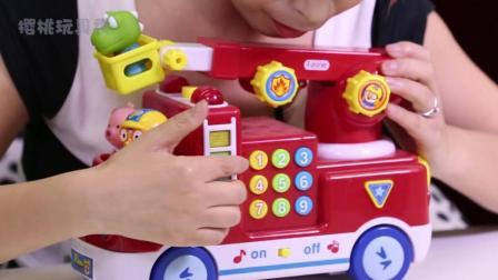 樱桃玩具秀: 韩国动画片小企鹅波鲁鲁消防车玩具分享