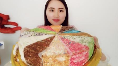 """妹子收到一盒彩虹""""提拉米苏"""", 五颜六色的, 看着好有食欲"""