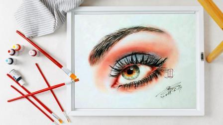 彩铅画基础教程-单眼睛的完整处理示范